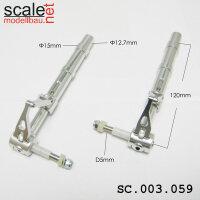 ScaleMod gefederte Fahrwerksbeine 2-Bein 12,7mm / 5mm Achse Länge 120 mm