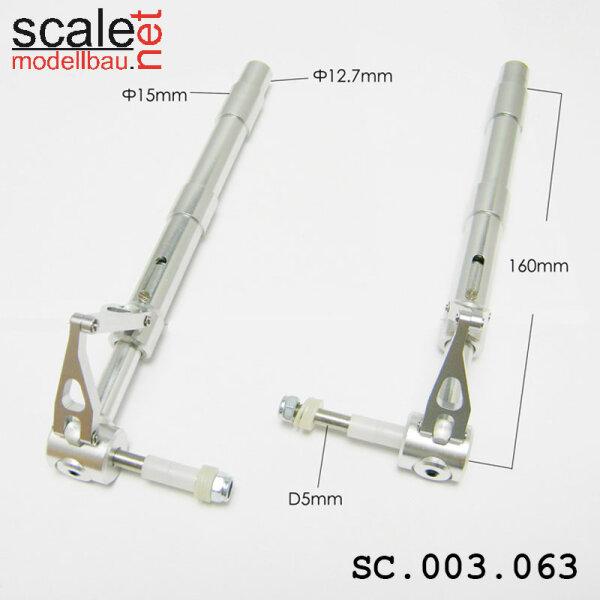 ScaleMod gefederte Fahrwerksbeine 2-Bein 12,7mm / 5mm Achse Länge 160 mm