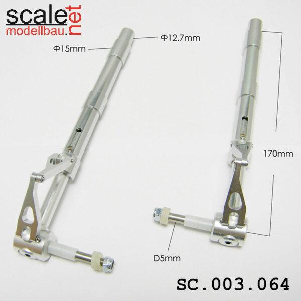 ScaleMod gefederte Fahrwerksbeine 2-Bein 12,7mm / 5mm Achse Länge 170 mm