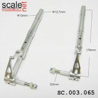 ScaleMod gefederte Fahrwerksbeine 2-Bein 12,7mm / 5mm Achse Länge 180 mm