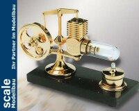 Stirlingmotor groß Gold montiert