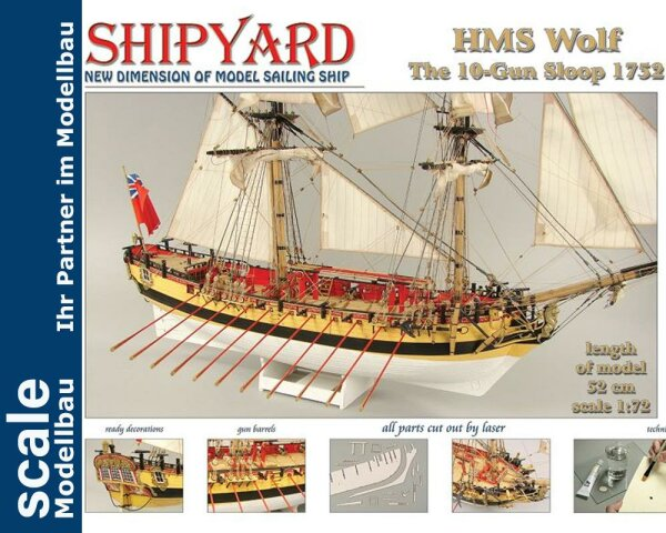 HMS Wolf 1752 Laser Kartonbausatz
