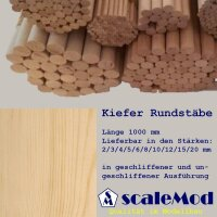 Scale Rundstäbe Kiefer  8,0 mm Länge 1000 mm...