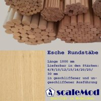 Scale Rundstäbe Esche  10,0 mm geschliffen...