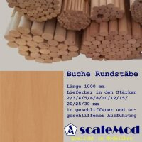 Scale Rundstäbe Buche 4,0 mm Länge 1000 mm  VE...