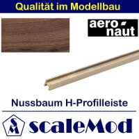 Aeronaut Holzleisten H-Profil Nussbaum 6x6 mm Länge...