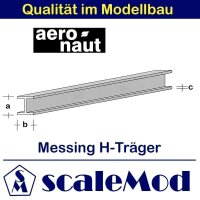 Aeronaut (7713/14) Messing H-Profile 330mm / 7,0x7,0x0,65...