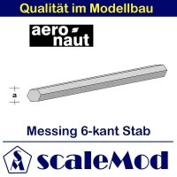 Aeronaut (7714/46) Messingstab 6-kant 330 mm / 4 mm VE 5 Stk