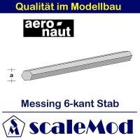 Aeronaut (7714/44) Messingstab 6-kant 330 mm / 3 mm VE 5 Stk