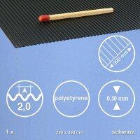 Polystyrene Wellplatte Schwarz 29,0x39,0 cm 2,0mm